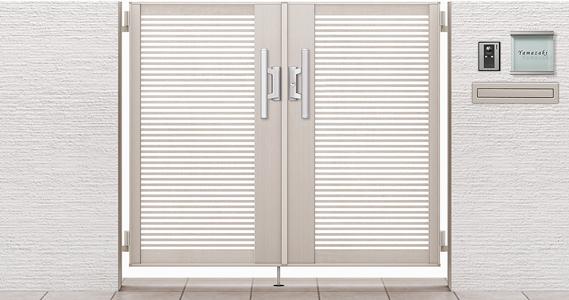 スタンダードな両開き門扉。